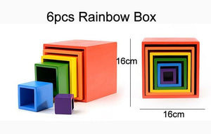Wooden Rainbow Blocks Wooden stacking toys rainbow Wood Building Blocks Colorful rainbow Children kids Educational Toy