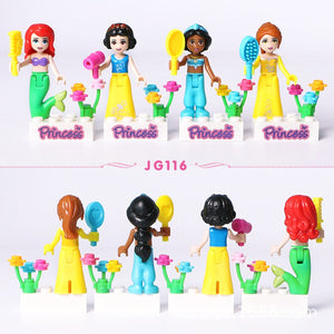 8pcs Fairy Tale Princess Girl Model Building Kits Doll Figures Bricks Blocks Kid Compatible Lepining Friends Children Toys