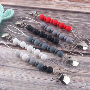 Handmade Silicone Baby Pacifier Chain Beaded Pacifier Clip DIY Dummy Clip Nipple Holder Soother Teething Chew Toys Baby Product