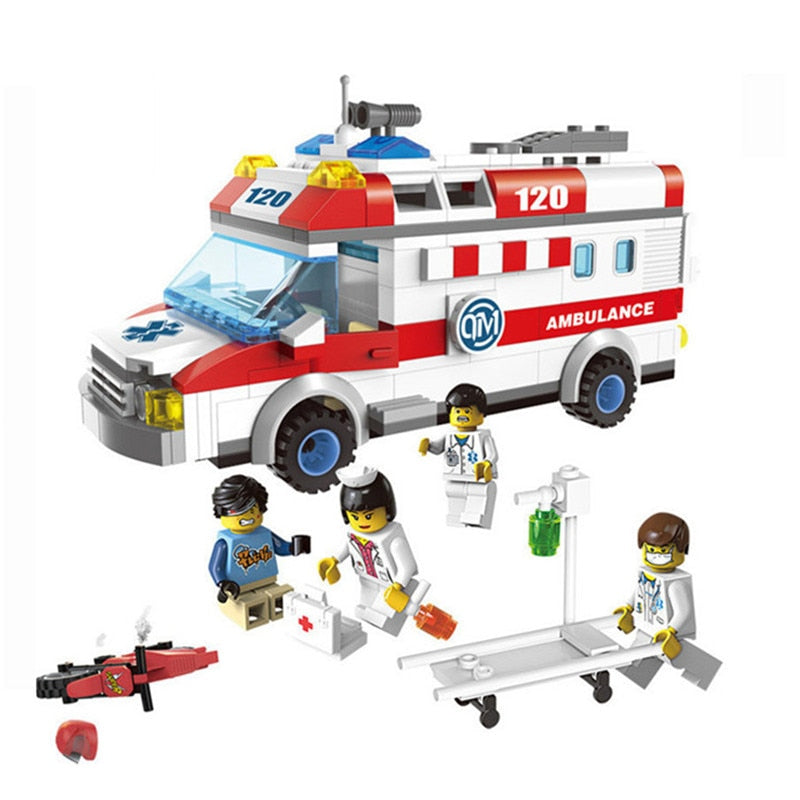 328pcs Ambulance Car Building Blocks Field Armies Cannon Small Particles Bricks Children Toys Compatible With Lepining City (S52)
