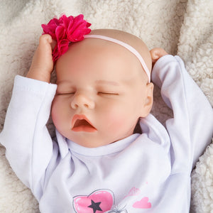 RSG Reborn Baby Doll 17 Inches Lifelike Newborn Sleeping Eye-closed Baby Silicone Vinyl Doll Reborn Toddle Gift Toy for Children