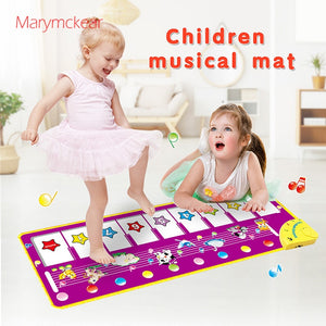 100x36cm Music Carpets Piano Mats Music Touch Play Keyboard with 8 Demo Songs Baby Animals Educational Toy for Kids Xmas Gift