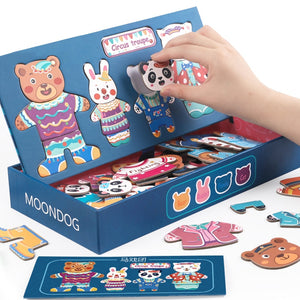 Animals Little Bear Wooden Magnetic Puzzle Toys for Children Drawing Board Jigsaw Kids Game Baby Educational Learning Toy Gift