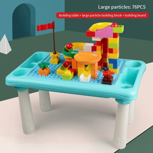 Large Particle Building Blocks Table Compatible Plastic Kids Marble Puzzle Educational Toys DIY Assembly Slide Children Gift