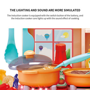 Kids Kitchen Toy Preten Play Cooking Table Set Children Spray Water Dinnerware Simulation Toys With Sounds Lights Girl Boy Gift