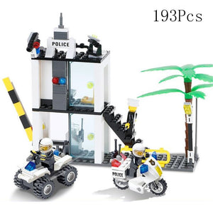 City Police Fire Fighting Series Motorbike Car Helicopter Building Blocks City Police Station DIY Bricks Toys for Children Boys