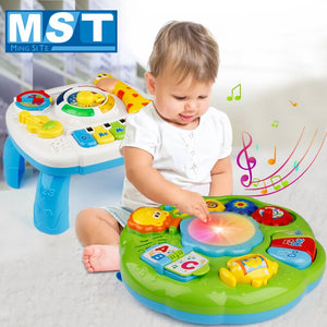 Infants Musical Instrument Learning Table Baby Toys Animals Piano Early Educational Study Activity Center Music Game For Kids