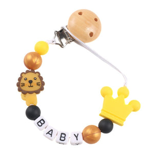 Pacifier Chain Personalized Name Colorful Silicone Bead Lion Baby Pacifier Clip Dummy Clip For Toddler Feeding Chew Teething Toy