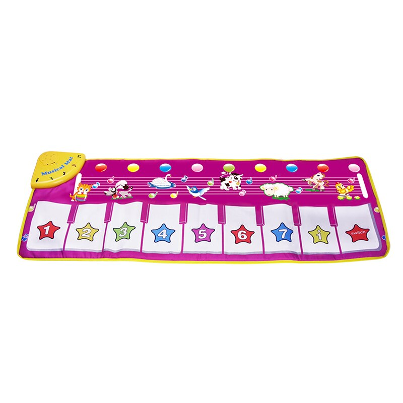 100x36cm Music Carpets Piano Mats Music Touch Play Keyboard with 8 Demo Songs Baby Animals Educational Toy for Kids Xmas Gift (100X36 CM)