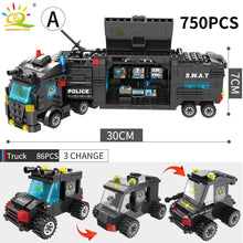 Load image into Gallery viewer, HUIQIBAO SWAT Police Station truck model Building Blocks City machine Helicopter Car Figures Bricks Educational Toy For Children