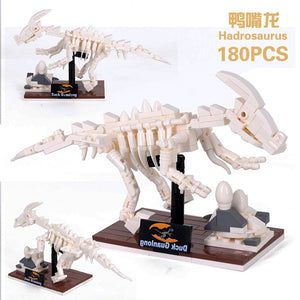Jurassic World 3D Dinosaurs Fossils Skeleton Model Building Blocks Bricks Dino Museum Educational DIY Toys For Children gifts