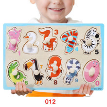 Load image into Gallery viewer, Baby Hand Grab Board Wooden Puzzle Toys Infant Early Educational Learning toy hand grip Animal Fruit Vehicle Puzzle For Kids