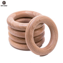 Load image into Gallery viewer, Let's Make Beech Wooden Teether Ring 10Pc 70Mm Baby Teething Wooden Crafts Toys For Baby Rattles Wood Ring Crib Mobile Teether