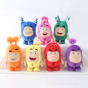 8pcs/Lot 18cm Oddbods Anime Plush Fuse Pogo Bubbles Slick Zeke Jeff Stuffed Dolls Cute Cartoon Peluche Toys for Children Gifts