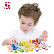 Load image into Gallery viewer, Wooden Montessori Toys Preschool Baby Learning Count Geometric Shape Cognition Match Baby Early Education Teaching Math Toy