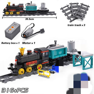 KAZI City Train Power Function Technic Building Block Bricks DIY Tech Toys for Children Compatible All Brands Christmas Gift