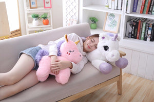 New Plush Pink Unicorn Toy Cute Large Lying&Standing Animal Doll Kids Appease Toys Sofa Sleeping Pillow Christmas Gift Children