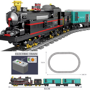 MOC Technic Battery Powered Electric Classic City Train Rail Building Blocks Bricks Gift Toys For Children Boys Girls