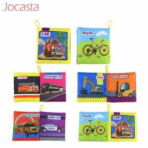 Jocasta Baby Toys Animal Stroller Rattle Soft Cloth Books Animal Fabrics Book Baby Early Learning Educational Toys for Kids ]
