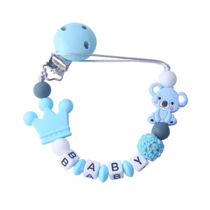 Personalised Name Silicone Koala Beads Pacifier Clip Colorful Pacifier Chain for Baby Teething Soother Chew Toy Dummy Clips