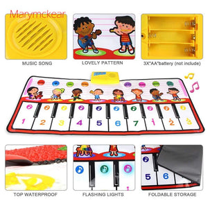 100x40cm Musical Mat 10 Keys Piano Toy 8 Musical Instruments Sounds Electronic Music Rug Children Piano Educational Toys