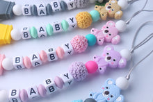 Load image into Gallery viewer, Personalised Name Silicone Koala Beads Pacifier Clip Colorful Pacifier Chain for Baby Teething Soother Chew Toy Dummy Clips