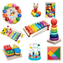 Load image into Gallery viewer, Kids Montessori Wooden Toys Rainbow Blocks Kid Learning Toy Baby Music Rattles Graphic Colorful Wooden Blocks Educational Toy