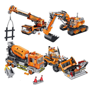 Engineering Bulldozer Crane Technic Cement Mixer Truck Building Block Toys City Construction vehicle car Toy For Children kids