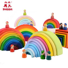 Load image into Gallery viewer, Wooden Rainbow Blocks Wooden stacking toys rainbow Wood Building Blocks Colorful rainbow Children kids Educational Toy