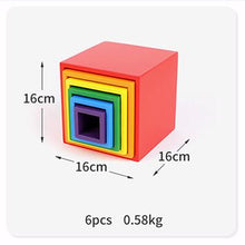 Load image into Gallery viewer, Baby Toys Wooden Block Rainbow Kids Creative building Blocks Stacker Wooden Toys Baby Early Learning Montessori Educational Toy