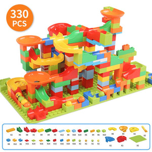 330PCS Building Bricks Mini Marble Race Run Building Blocks DIY Funnel Slide Constructor Gift Toys for Children Kids