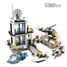 Load image into Gallery viewer, City Police Fire Fighting Series Motorbike Car Helicopter Building Blocks City Police Station DIY Bricks Toys for Children Boys