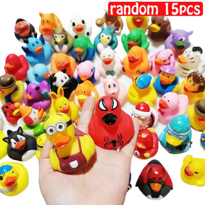 ESALINK 15PCS  Random Mini Colorful Rubber Float Squeaky Sound Duck Bath Toy Baby Water Pool Funny Toys for Girls Boys Gifts