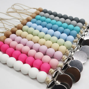 BPA Free Pacifier Clips chain Food grade silicone Beads DIY Dummy Clip Holder Soother Chains Baby Teething Toys