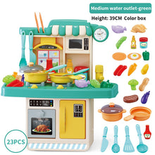 Load image into Gallery viewer, Kids Kitchen Toy Preten Play Cooking Table Set Children Spray Water Dinnerware Simulation Toys With Sounds Lights Girl Boy Gift