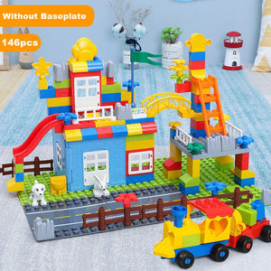 QWZ Paradise Castle Big Size Building Blocks Compatible Duploed Construction Block DIY Amusement Park Brick Toys For Children
