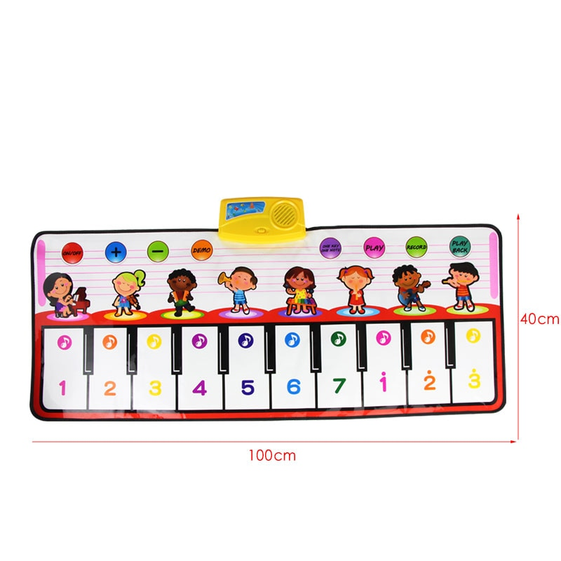 100x40cm Musical Mat 10 Keys Piano Toy 8 Musical Instruments Sounds Electronic Music Rug Children Piano Educational Toys (1 pcs)
