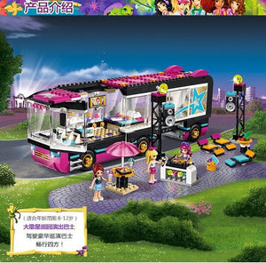 684Pcs Pop Star Tour Bus 10407 Friends Series Building Blocks Toys For Children Compatible With Lepining 41106