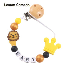 Load image into Gallery viewer, Pacifier Chain Personalized Name Colorful Silicone Bead Lion Baby Pacifier Clip Dummy Clip For Toddler Feeding Chew Teething Toy
