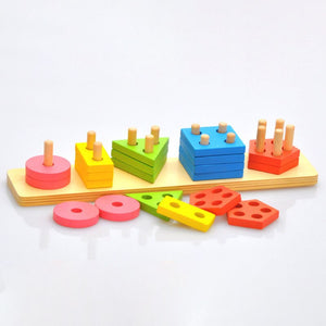 Kids Educational Toys Wooden Puzzle Stacking Tower Montessori Early Learning Classic Mathematical Puzzle Children Baby Toys
