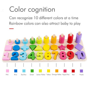 Wooden Montessori Toys Preschool Baby Learning Count Geometric Shape Cognition Match Baby Early Education Teaching Math Toy