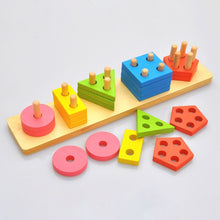 Load image into Gallery viewer, Kids Educational Toys Wooden Puzzle Stacking Tower Montessori Early Learning Classic Mathematical Puzzle Children Baby Toys (Box)