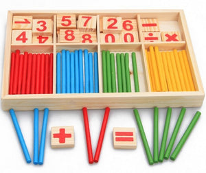 Wooden Math Toys Counting Sticks Teaching Aids Baby Early Educational Learning Number Math Open Mind Colorful Stick Toys