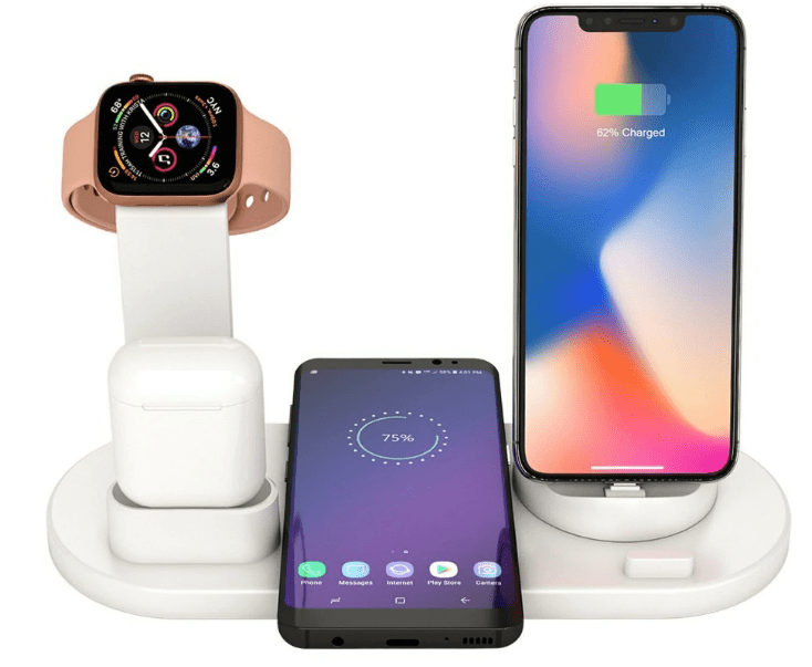 Station de Recharge 4 en 1 : Compatible avec iPhone Samsung AirPods Apple Watch -