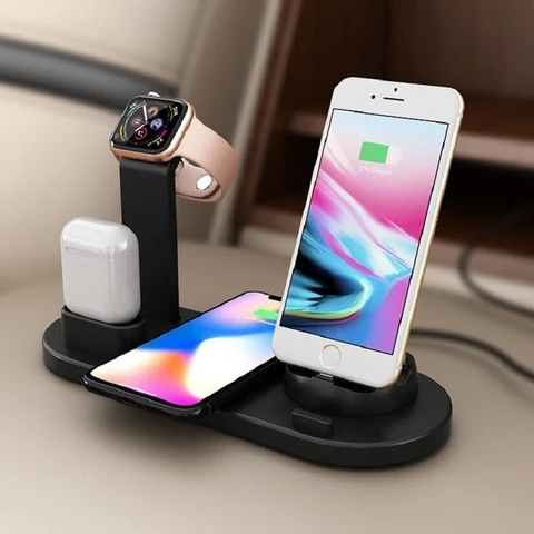 Station de Recharge 4 en 1 : Compatible avec iPhone Samsung AirPods Apple Watch - Noir