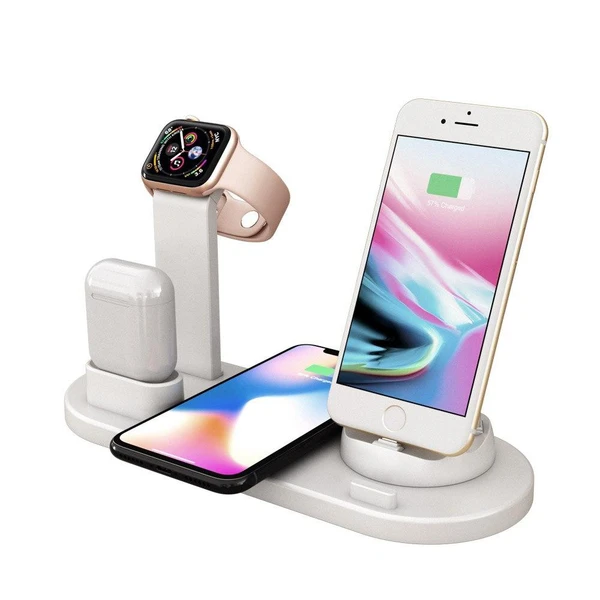 Station de Recharge 4 en 1 : Compatible avec iPhone Samsung AirPods Apple Watch - Blanc