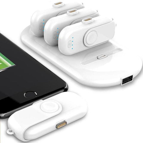 Station Batterie : Powerbank Avec 4 Magnétiques Batteries (iPhone/ Android/ Type-C) -