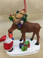 Moose Santa ornament