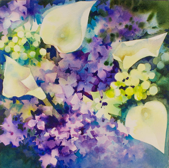 Use Negative Painting Techniques to Create a Watercolour Painting of Cala lilies and Hydrangea Flowers