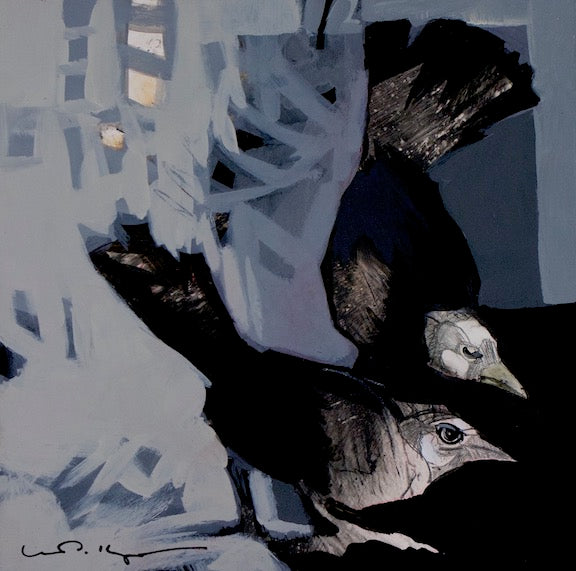 two black and white birds looking into lover right corner. black, white, blue-grey acrylic painting